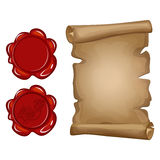Old paper scroll and red wax seal Stock Image