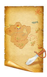 Old paper scroll.Treasure map on white Royalty Free Stock Images