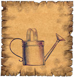 Old paper scroll with a watering can on it Royalty Free Stock Image