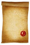 Old paper scroll with wax seal close-up isolated Royalty Free Stock Photo