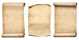 Old paper scrolls or parchments realistc 3d illustration set. Old paper scrolls and parchments realistc set royalty free stock photos