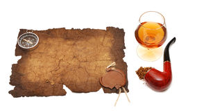 Old paper seal wax , pipe and glass of cognac Stock Images