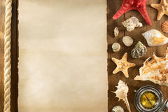Old paper and seashell on wooden background Stock Image