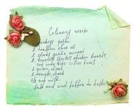 Old paper sheet with cooking recipe. Stock Photos