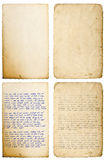 Old paper sheet with edges Handwritten letter Handwriting. Old paper sheets with edges isolated on white. Handwritten letter. Latin text Lorem ipsum. Handwriting stock images