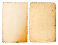 Old paper sheet with edges isolated on white background Royalty Free Stock Images