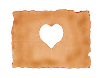 Old paper sheet with heart symbol for background Royalty Free Stock Photos