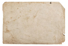 Old paper sheet isolated white background cardboard texture Stock Image