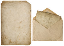 Old paper sheet isolated white background cardboard texture Royalty Free Stock Images