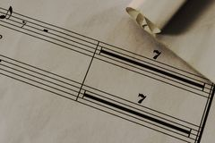 Old paper,sheet music, texture. Vintage paper Royalty Free Stock Photography