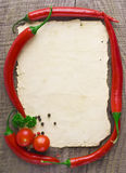 Old paper sheet and vegetables. For a menu or recipe Royalty Free Stock Photography