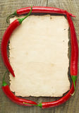 Old paper sheet and vegetables for a menu. Or recipe Royalty Free Stock Images