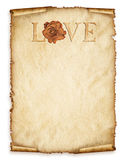 Old paper sheet, vintage aged old paper with rose and love Stock Photography