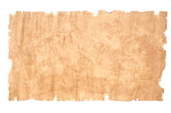 Old paper sheet on white background. Old, torn, yellowed sheet of paper on white background Stock Photos
