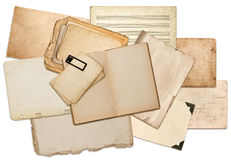 Old paper sheets, book pages, cardboards, photo frames Stock Image