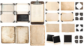 Old paper sheets, book, vintage photo frames and corners, antiqu Stock Photography