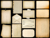 Old paper sheets with edges. Vintage book pages on black Royalty Free Stock Photos