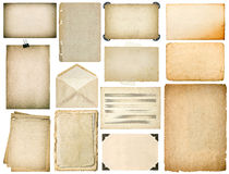 Old paper sheets with edges. Vintage book pages, cardboards. Music notes, photo frame with corner, envelope isolated on white background royalty free stock images