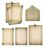 Old paper sheets and envelope. Grungy textured cardboard. Scrapb. Old paper sheets and envelope. Grungy textured cardboard isolated on white background Royalty Free Stock Image