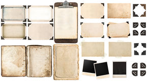 Old paper sheets, vintage photo frames and corners, open book. Antique clipboard isolated on white background Royalty Free Stock Images