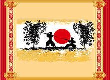 Old paper with  silhouette Samurai Stock Image