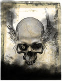 Old paper with skull Stock Photo