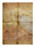 Old paper & skull. Old grungy folded paper with water stains - digital illustration royalty free illustration
