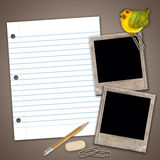 Old  paper slides on the grunge  background. With bird, sheet, eraser, pencil Royalty Free Stock Image
