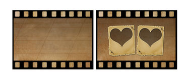 Old paper slides for photos on rusty abstract background. Set the old paper slides for photos on rusty abstract background Royalty Free Stock Images
