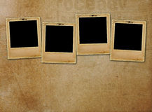 Old paper slides for photos on rusty background Stock Images