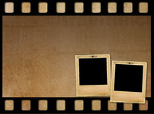 Old paper slides for photos on rusty background Royalty Free Stock Photos