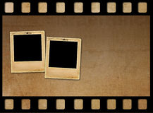 Old paper slides for photos on rusty  background. Old paper slides for photos on rusty abstract background Stock Photo