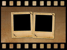 Old paper slides for photos on rusty background Stock Photo