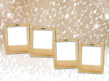 Old paper slides on snow grunge background Royalty Free Stock Photo