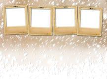 Old paper slides on snow grunge background Stock Images