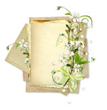 Old paper stack with cherry flowers Stock Images