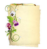 Old paper stack with spring flamies Royalty Free Stock Photo