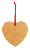 Old paper tagl in the shape of a heart with red ribbon Royalty Free Stock Photography