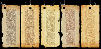Old paper tags with ornaments Royalty Free Stock Images