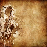 Old Paper Texture. Old Paper. Retro Music Texture Background with Jazz Saxophone stock illustration