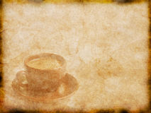 Old paper texture with cup of coffee Stock Image
