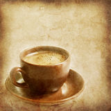 Old paper texture with cap of coffee. Vintage paper texture with a cup of coffee Stock Photography