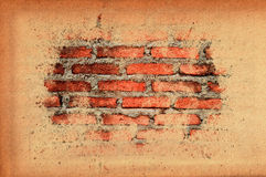 Old paper texture cover old brick wall Royalty Free Stock Photography