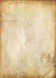 OLD PAPER TEXTURE WITH FLORAL GRUNGE Stock Images