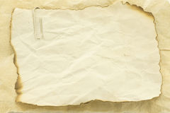 Old paper texture note. Old paper with burn marks framework for message notes Royalty Free Stock Image