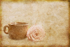 Old paper texture with offee and rose stock illustration