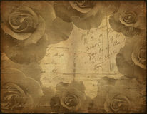 Old paper texture, roses Royalty Free Stock Photos