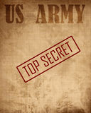 Old paper texture with 'top secret' stock photography