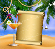 Old paper on tropical background Royalty Free Stock Photo