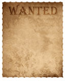 Old paper wanted sign Stock Image